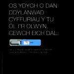 Os ydych o dan didyl anwad cyffuriau y tu ol i'r olwyn. Cewch eich dal