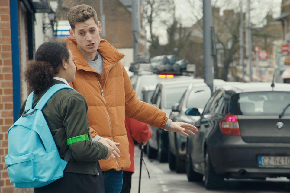 Sam homewood educating children on crossing the road
